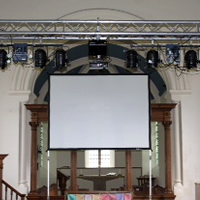 Lighting, projection and screen at a Church event